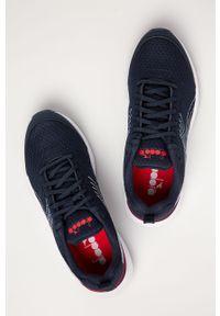 Niebieskie buty sportowe Diadora na sznurówki, z okrągłym noskiem