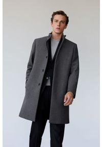 Szary płaszcz Mango Man bez kaptura, casualowy