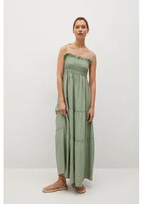 mango - Mango - Sukienka CELIA. Kolor: zielony. Materiał: materiał, włókno. Długość rękawa: na ramiączkach. Typ sukienki: rozkloszowane