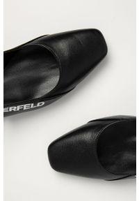 Czarne baleriny Karl Lagerfeld na średnim obcasie, na obcasie, z cholewką