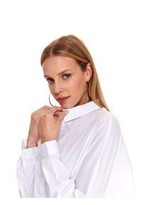 TOP SECRET - Koszula damska oversize. Okazja: na co dzień. Kolor: biały. Długość rękawa: długi rękaw. Długość: długie. Sezon: jesień. Styl: casual
