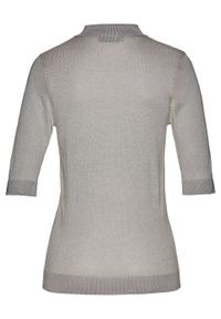 Szary sweter bonprix melanż, krótki, polo