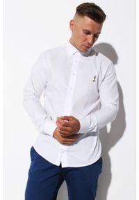 Biała koszula Edward Orlovski z krótkim rękawem, krótka, z klasycznym kołnierzykiem
