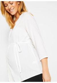 Biała tunika bonprix moda ciążowa, do pracy, z haftami, biznesowa
