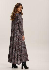 Renee - Czarna Sukienka Mariye. Kolor: czarny. Długość rękawa: długi rękaw. Wzór: kwiaty. Styl: klasyczny. Długość: maxi