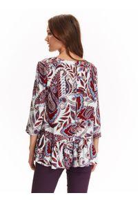 Biała bluzka TOP SECRET na zimę, w kolorowe wzory, casualowa