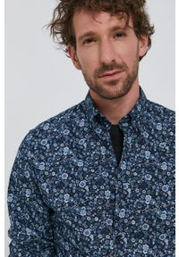 Selected - Koszula bawełniana. Typ kołnierza: button down. Kolor: niebieski. Materiał: bawełna