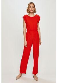 Czerwony kombinezon Pepe Jeans gładki, casualowy, bez rękawów