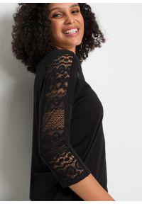 Shirt z rękawami 3/4 i koronką bonprix czarny. Kolor: czarny. Materiał: koronka. Wzór: koronka