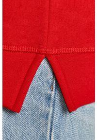 Czerwona bluza TOMMY HILFIGER długa, z długim rękawem, z kapturem, casualowa