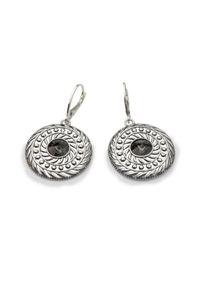 Polcarat Design - Kolczyki srebrne oksydowane Swarovski K 1744. Materiał: srebrne. Kolor: srebrny. Wzór: aplikacja. Kamień szlachetny: kryształ