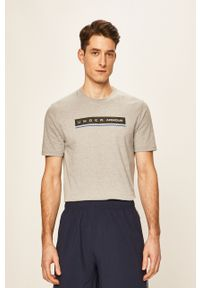 Szary t-shirt Under Armour casualowy, z nadrukiem