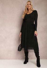 Renee - Czarna Spódnica Voloelle. Kolor: czarny. Materiał: dzianina. Styl: glamour, klasyczny, elegancki