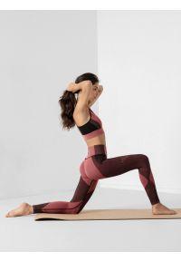 4f - Legginsy do jogi z materiałów z recyklingu damskie. Stan: podwyższony. Kolor: różowy. Materiał: materiał. Długość: do kostek. Sport: joga i pilates