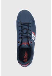 Niebieskie sneakersy Lee Cooper na obcasie, na niskim obcasie, na sznurówki, z okrągłym noskiem