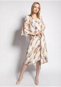e-margeritka - Sukienka kopertowa midi z szerokimi rękawami w liście - 44. Materiał: wiskoza, tkanina, materiał. Typ sukienki: kopertowe. Styl: elegancki. Długość: midi