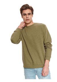 TOP SECRET - Bluza klasyczna ze strukturalnej dzianiny. Kolor: brązowy. Materiał: dzianina. Długość rękawa: długi rękaw. Długość: długie. Sezon: lato. Styl: klasyczny
