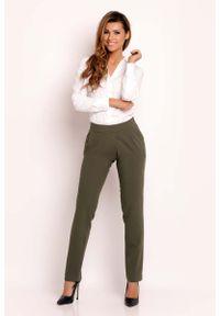 Oliwkowe spodnie z wysokim stanem Lou-Lou eleganckie