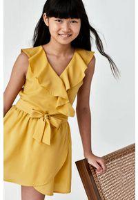 Pomarańczowa sukienka Mayoral gładkie, na ramiączkach