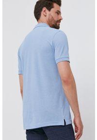 Selected - Polo. Okazja: na co dzień. Typ kołnierza: polo. Kolor: niebieski. Materiał: bawełna, dzianina. Długość: krótkie. Wzór: gładki. Styl: casual