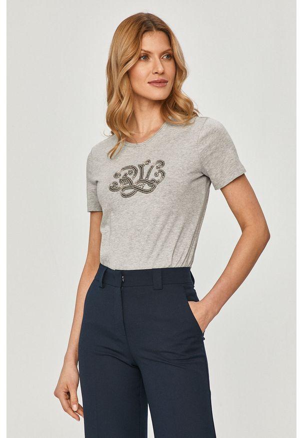 Szara bluzka Lauren Ralph Lauren casualowa, z aplikacjami, na co dzień