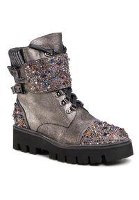 Srebrne buty trekkingowe Alma En Pena klasyczne, z cholewką