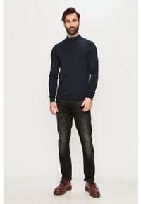 Premium by Jack&Jones - Sweter. Okazja: na co dzień. Kolor: niebieski. Materiał: dzianina. Długość rękawa: długi rękaw. Długość: długie. Styl: casual
