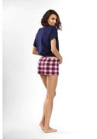 Niebieska piżama Lorin gładkie, krótka
