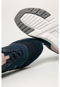 Niebieskie buty sportowe New Balance na średnim obcasie, z cholewką, na obcasie, na sznurówki #5