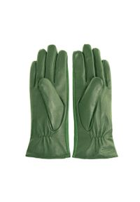 Wittchen - Damskie rękawiczki skórzane z zamszowymi wstawkami. Kolor: zielony. Materiał: skóra. Styl: klasyczny