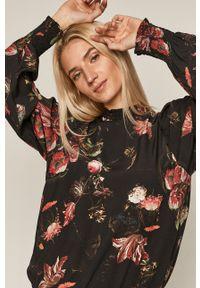 Czarna bluzka medicine w kwiaty, ze stójką, długa, casualowa