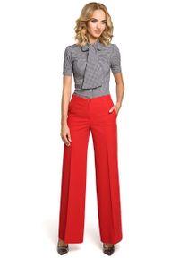 Czerwone spodnie z wysokim stanem MOE eleganckie