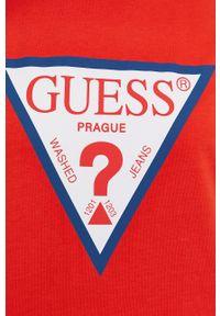 Czerwona bluzka Guess na urodziny, z nadrukiem, casualowa