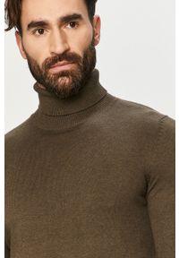 Oliwkowy sweter Jack & Jones na co dzień, z golfem