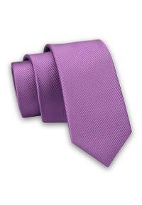 Liliowy krawat Angelo di Monti w prążki, elegancki