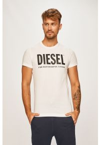 Biały t-shirt Diesel z nadrukiem, z okrągłym kołnierzem, casualowy