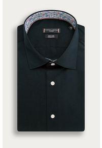 Niebieska koszula Tommy Hilfiger Tailored z włoskim kołnierzykiem, z aplikacjami, klasyczna