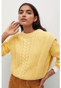 mango - Mango - Sweter Maia. Okazja: na co dzień. Kolor: żółty. Wzór: ze splotem. Styl: casual