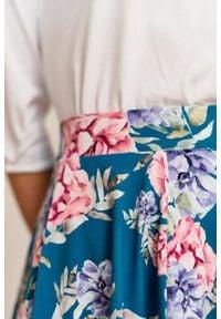 Marie Zélie - Spódnica Farin Frisia turkusowa. Kolor: turkusowy. Materiał: bawełna, dzianina, materiał, elastan, skóra, guma