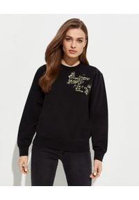 Kenzo - KENZO - Czarna bluza z haftowaną grafiką -EDYCJA LIMITOWANA. Okazja: na co dzień. Kolor: czarny. Materiał: jeans, bawełna. Długość rękawa: długi rękaw. Długość: długie. Wzór: haft. Styl: casual, klasyczny