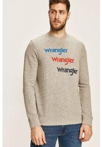 Wrangler - Bluza. Kolor: szary. Materiał: dzianina. Wzór: nadruk