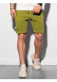 Ombre Clothing - Krótkie spodenki męskie dresowe W294 - oliwkowe - XXL. Kolor: szary. Materiał: dresówka. Długość: krótkie. Styl: sportowy, klasyczny