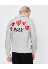 COMME DES GARCONS PLAY - Szara bluza z czerwonymi sercami. Typ kołnierza: bez kaptura. Kolor: szary. Materiał: bawełna. Długość rękawa: długi rękaw. Długość: długie