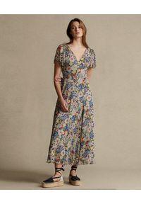 Ralph Lauren - RALPH LAUREN - Kolorowa sukienka. Typ kołnierza: polo. Kolor: niebieski. Materiał: wiskoza. Wzór: kolorowy. Sezon: wiosna