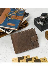 BUFFALO WILD - Skórzany portfel męski brązowy Buffalo Wild RM-02L-HBW BROWN. Kolor: brązowy. Materiał: skóra