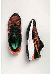 Czarne buty sportowe Nike Kids na sznurówki, z cholewką, do biegania, z okrągłym noskiem