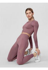 4f - Longsleeve treningowy damski. Kolor: różowy. Materiał: włókno, dzianina, materiał. Długość rękawa: długi rękaw. Długość: długie. Wzór: gładki. Sport: fitness