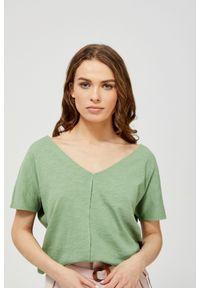 Zielona bluzka MOODO z okrągłym kołnierzem, z krótkim rękawem