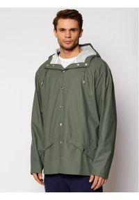Zielona kurtka przeciwdeszczowa Rains casualowa, na co dzień