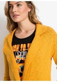 Długi sweter rozpinany bonprix Dł. sweter rozp miod. Kolor: pomarańczowy. Długość: długie